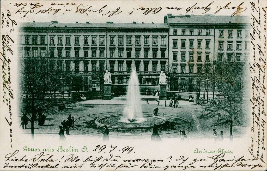 Der Andreasplatz als Postkartenmotiv 1899 Bildquelle: FHXB-Museum /