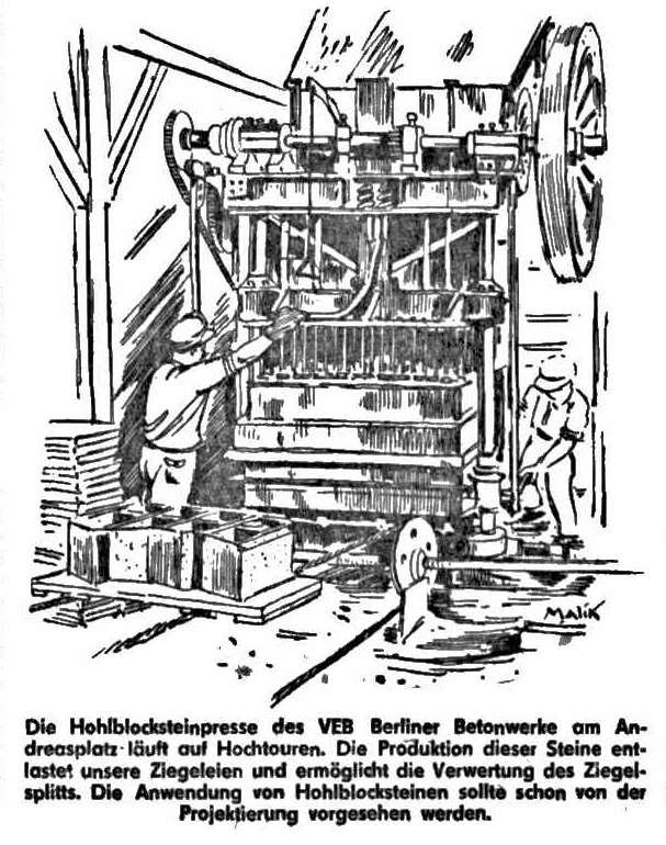 """""""Die Hohlblocksteinpresse des VEB Berliner Betonwerke am Andreasplatz läuft auf Hochtouren. Die Produktion dieser Steine entlastet unsere Ziegeleien und ermöglicht die Verwertung des Ziegelsplitts. Die Anwendung von Hohlblocksteinen sollte schon vor der Projektierung vorgesehen werden."""" steht als Erläuterung unter dieser Grafik. / Bild: FHXB-Museum /"""