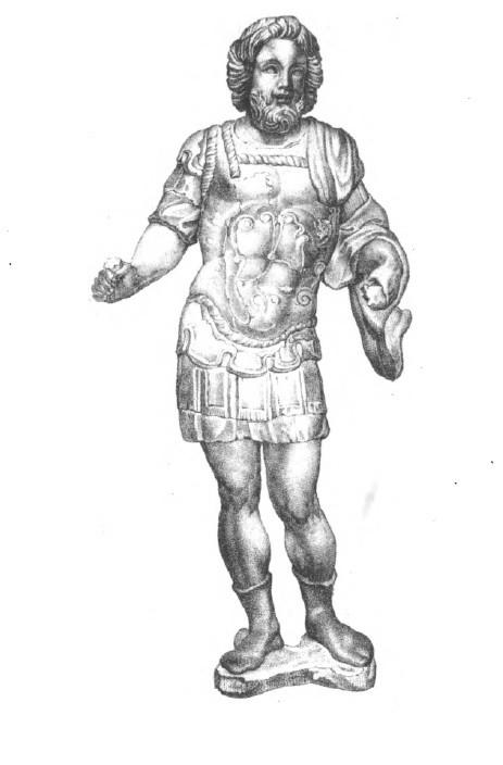 Jupiter Dolichenus. Erste veröffentlichte Abbildung der Kleinfigur von 1826.