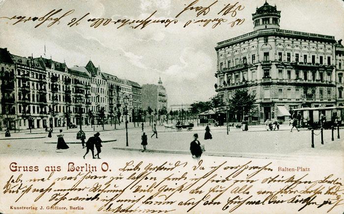 Baltenplatz (heute Bersarinplatz), Berlin-Friedrichshain Historische Postkarte von 1904