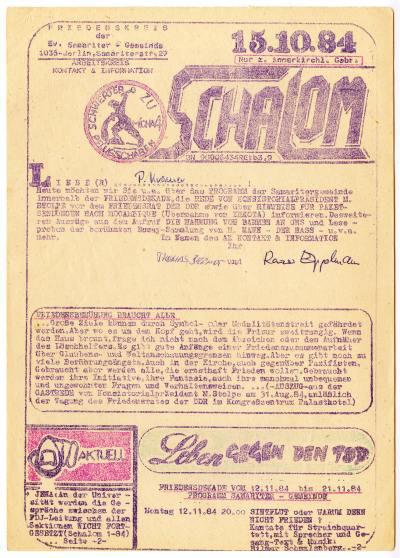 Flugblatt der Samariterkirche 1984