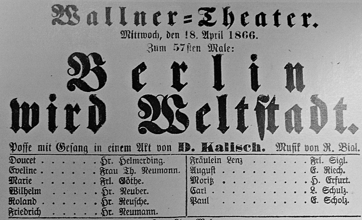 Blumenstrasse WallnerTheater 184 Programmzettel aus Berliner Leben (1954) Erinnerungen und Berichte
