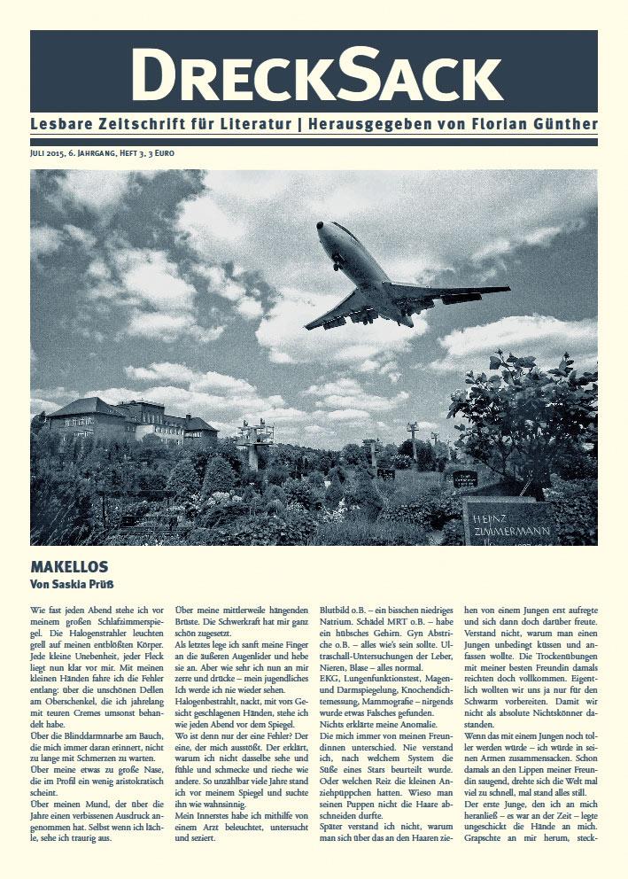 Cover des Drecksack, 6. Jahrgang, Heft 3, Juli 2015. Herausgegeben von Florian Günther Foto: Siebrand Rehberg