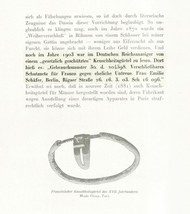 """Frau Emilie Schäfer aus der Rigaer Straße in Berlin erhielt 1903 ein Gebrauchsmuster für """"Ein verschließbares Schutznetz für Frauen gegen eheliche Untreue""""."""