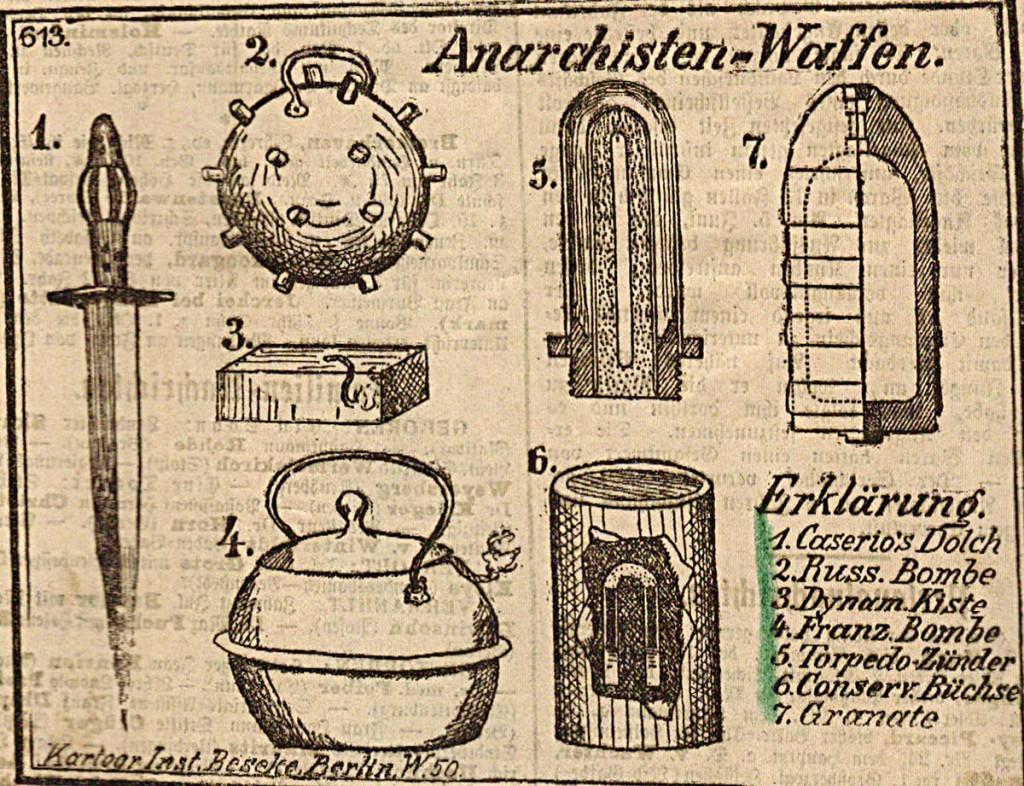 Alte Illustration anarchistischer Waffen