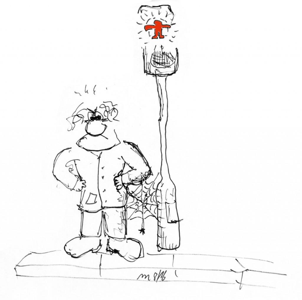 Zeichnung mit Ampelmaennchen | Wie ich kriminell wurde. Ein Bekenntnis von Helene Mierscheid. Grafik Dirk Moldt
