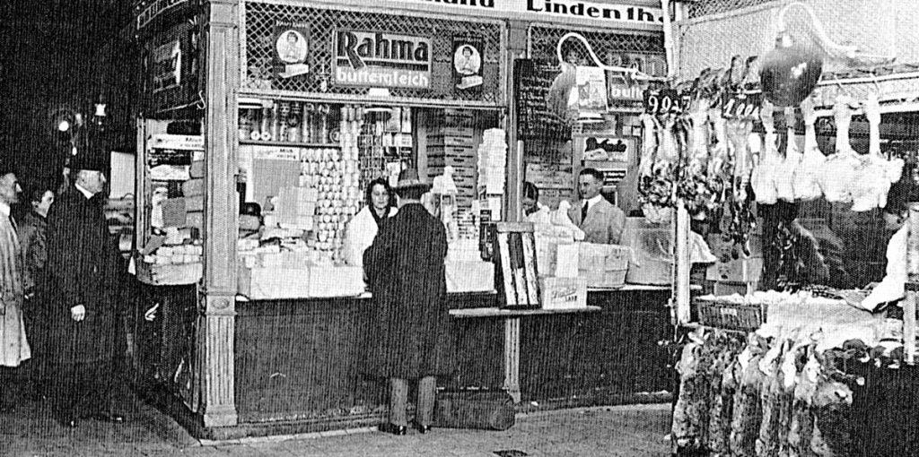 Rahma am Stand, Quelle: Erich Rindt (1928): Die Markthallen als Faktor des Berliner Wirtschaftslebens