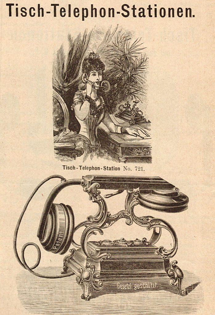 Tischtelefone waren Anfang der 1890er Jahre Kult; Quelle: aus Werbeanzeige Mix und Genest 1891