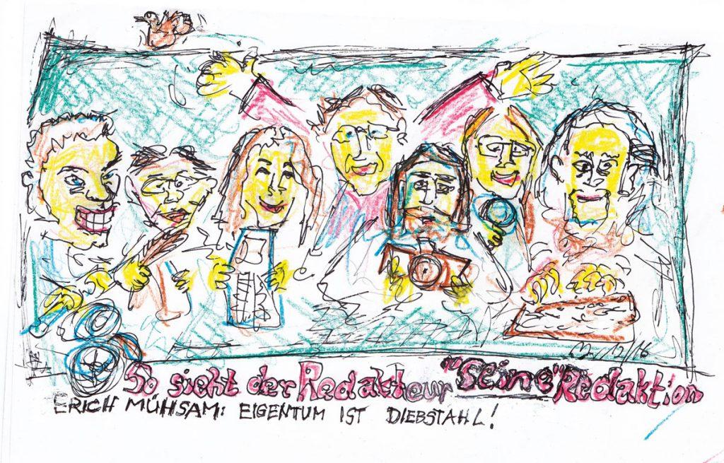 Die Redaktion des Friedrichshainer Zeitzeigers, Zeichnung: Dirk Moldt
