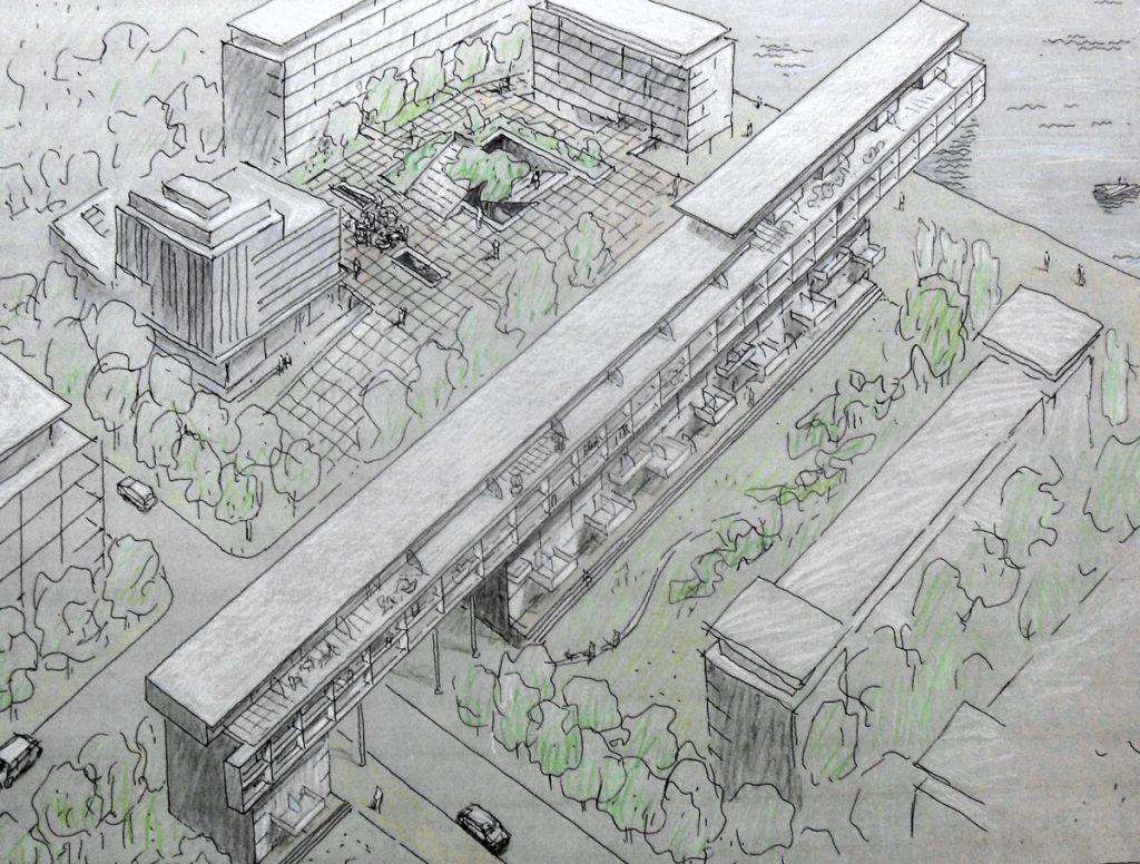 Entwurf für das olympische Dorf auf Alt Stralau. Quelle FHXB Museum