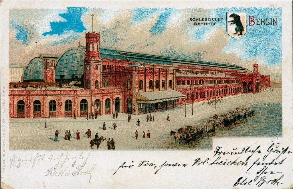 Postkarte mit Motiv vom Schlesischen Bahnhof