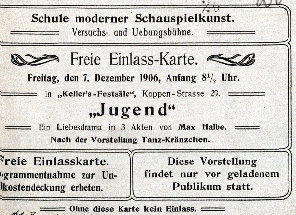 Eintrittskarte von Keller's Festsäle, Koppenstraße in Berlin-Friedrichshain, Quelle: Privatarchiv