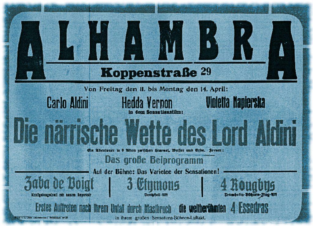 Filmplakat vom Kino Alhambra in der Koppenstraße 29 in Berlin, Quelle: Privatarchiv