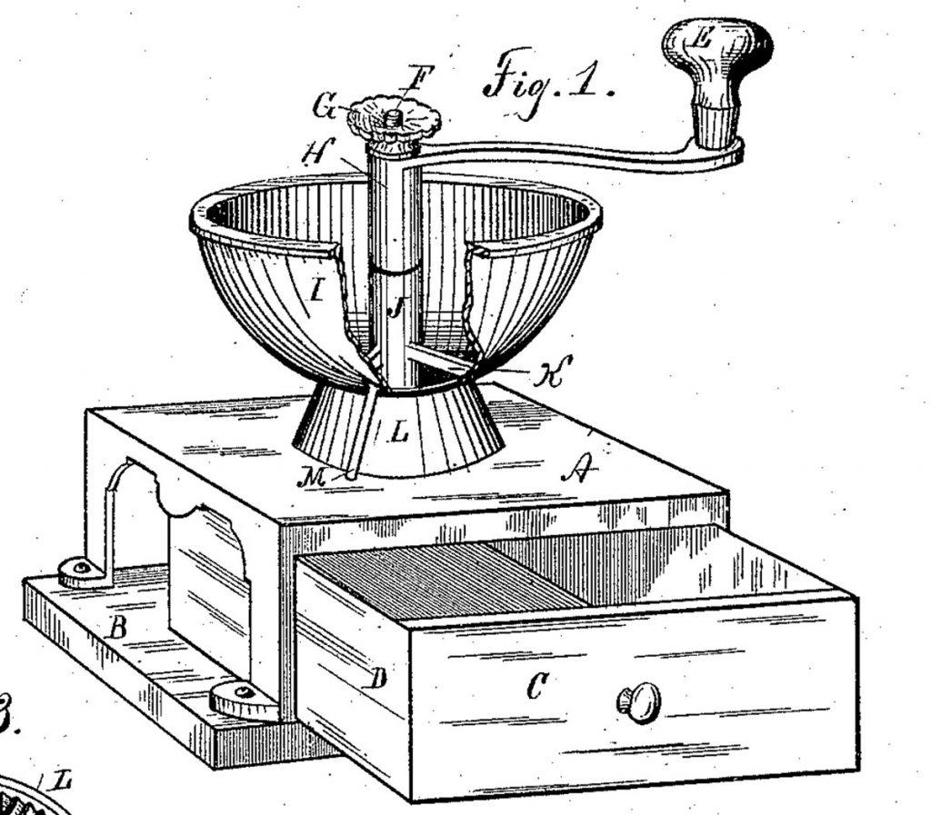 Illustration einer Tischkaffeemühle, Quelle: Brockhaus Lexicon 1908