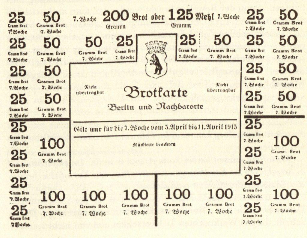 Brotkarte für Berlin und Nachbarorte | Quelle: Bäckerhandbuch 1918