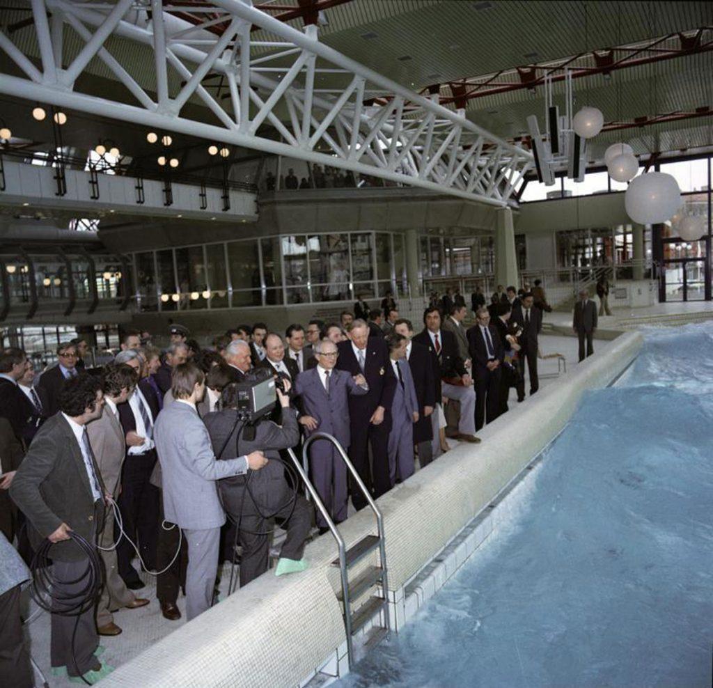 Eröffnung des SEZ mit Erich Honecker und Erhardt Gißke Foto: Bundesarchiv Berlin