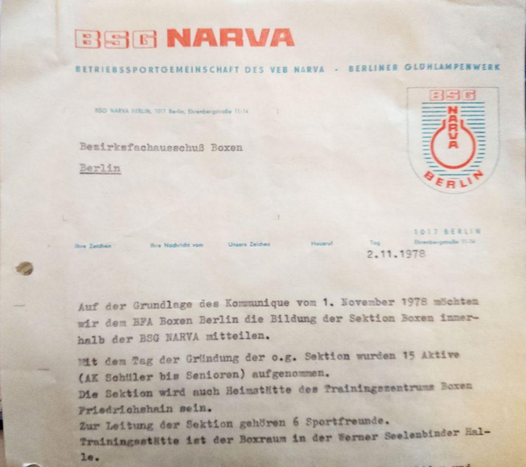 """""""Gründungsdokument"""" der Sektion Boxen bei der Betriebssportgemeinschaft Narva"""