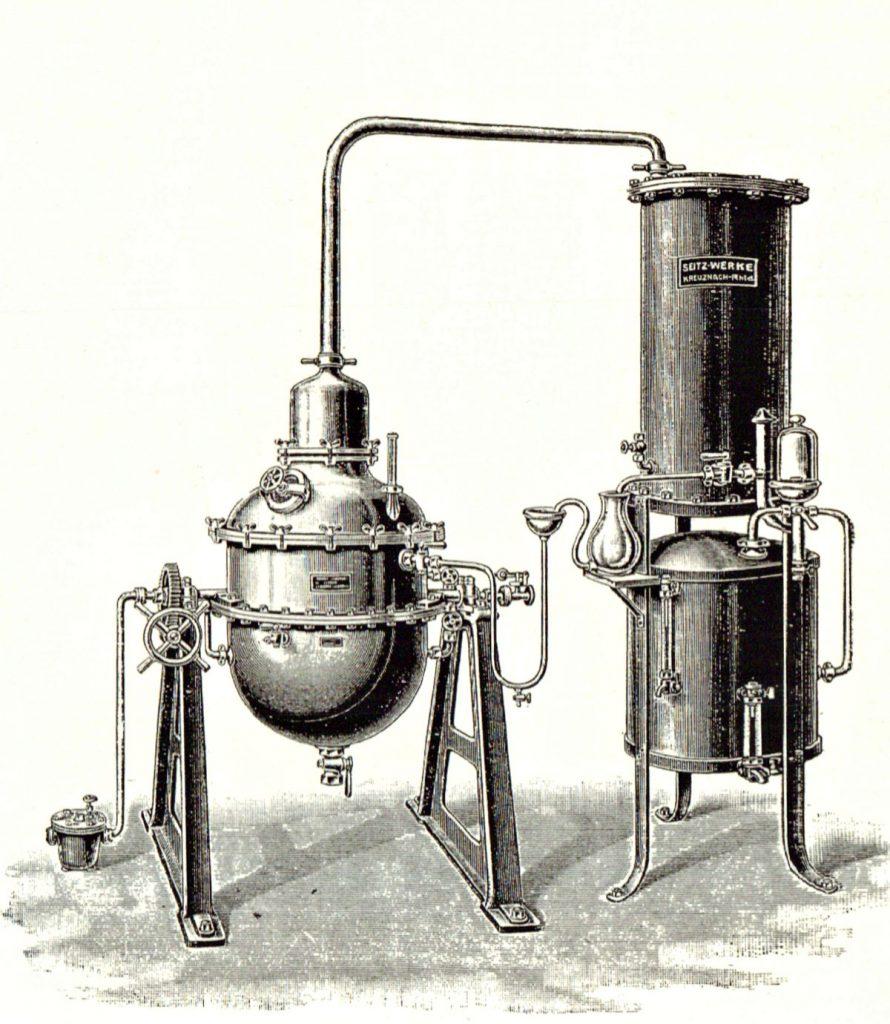 Flüssiges aus Friedrichshain – Likör und mehr: Destillationsapparat | Quelle: Meyer-Werbebroschüre 1924