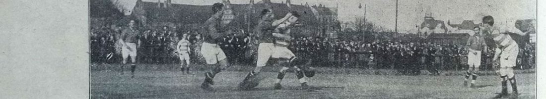SV Stralau 1910 (in gestreiften Jerseys) – BFC Teutonia 09 4:1 (0:0) am 5. April 1925 | Quelle: . Freie Sportwoche, 29. April 1925