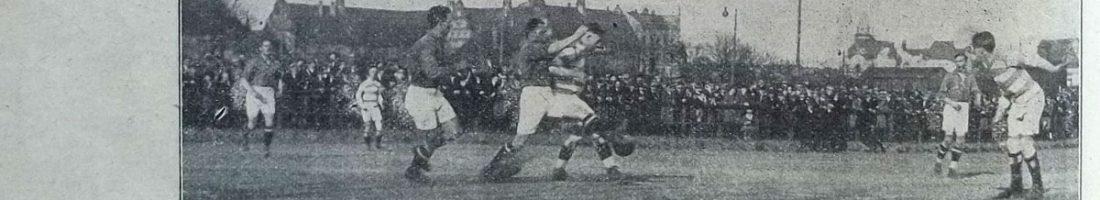 SV Stralau 1910 (in gestreiften Jerseys) – BFC Teutonia 09 4:1 (0:0) am 5. April 1925 | Quelle: . Freie Sportwoche, 29. April 1925