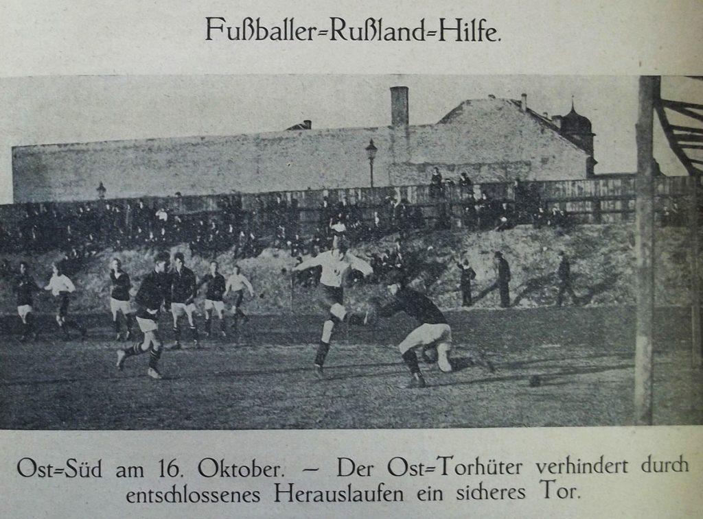 Fußbal-Solidaritätsspiel im Jahre 1921 auf dem Stralau-Platz zugunsten der Russland-Hungerhilfe| Quelle: Freie Sportwoche, 2. November 1921