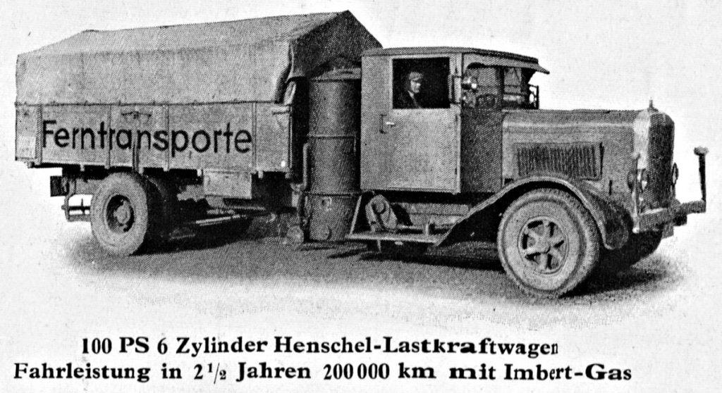 Henschel Lastkraftwagen mit Imbert-Gas | Quelle: Katalog Imbert 1936