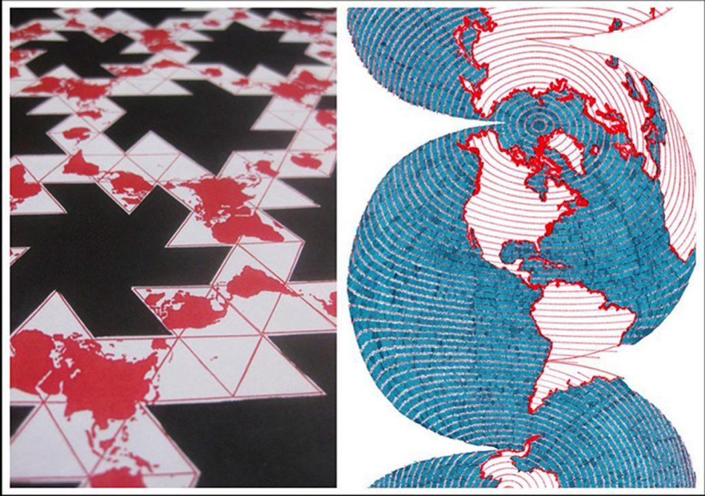 Architekt und Graphiker Peter Stebel und der Designer Lucas T. Verweij zeigen im Atelier Terra – Galerie im Hof ungewöhnliche Weltkarten