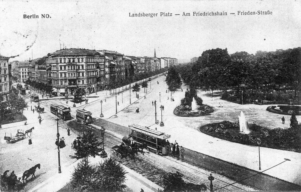 Der Landsberger Platz in Berlin-Friedrichshain Um 1900. | Quelle: Postkarte