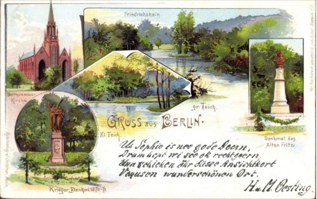Postkarte: Friedrichshainer Park, um 1900