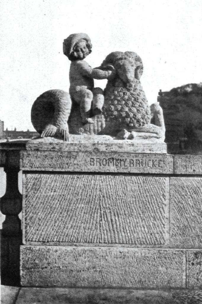 Detail (Brückenskulptur) um 1911 der mittlerweile verschwundenen Brommybrücke| Quelle: Bauzeitschrift