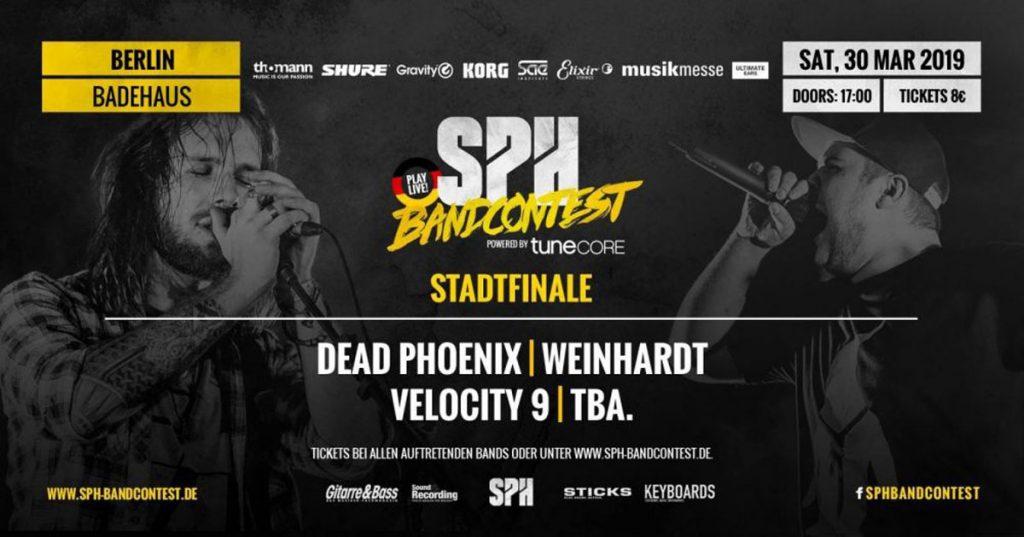 Von Musikern. Für Musiker. Dead Phoenix, Weinhardt Band, Velocity 9, drei junge Bands, die doch auffällig angenehm gitarrenlastigen Sound zuzurechnen sind, stellen sich innerhalb des diesjährigen SPH Bandcontests, dem größten Bandwettbewerb in Deutschland, Österreich, der Schweiz und Großbritannien im Badehaus ihrem Publikum.