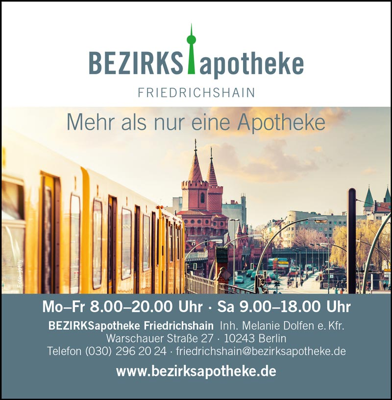 BezirksApotheke Friedrichshain, Warschauer Str. 27, 10243 Berlin