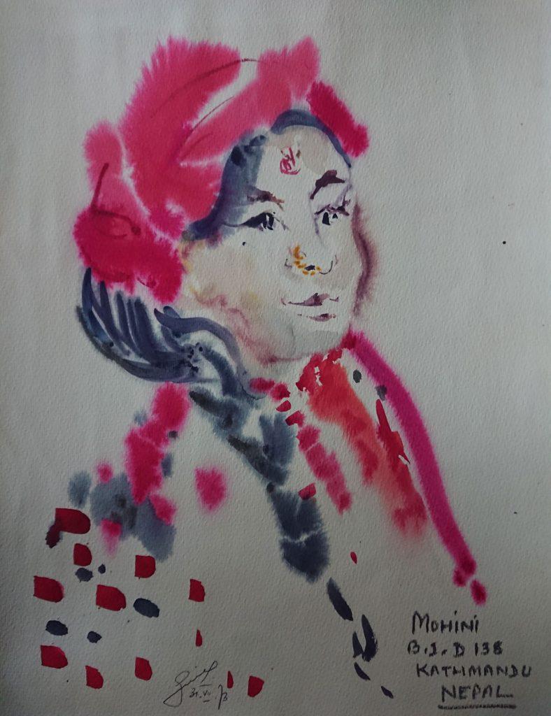 Bild einer nepalesischen Tänzerin von dem Künstler Volkmar Götze | Foto: Privat