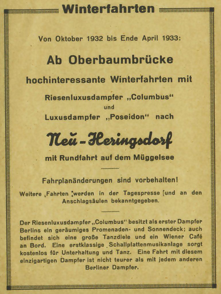 Historische Anzeige für Eisbrecherfahrten, dem einzigartigen Dampfer | Foto: Werbebroschüre