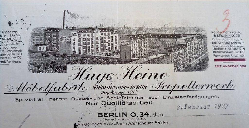 Propellerwerk und Möbelfabrik von Hugo Heine | Quelle: Versandkatalog