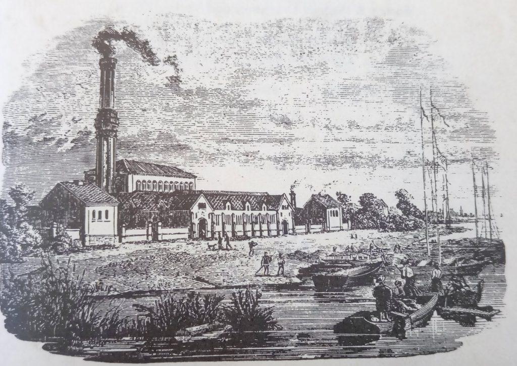 Wasserwerk Stralau im Jahre 1858 | Quelle: Zeitgenössischer Katalog