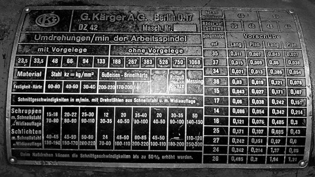 Drehbank: Kärger-Typenschild | Quelle: Werkstattfoto