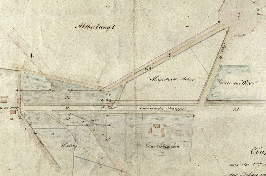 Lage des Schlößchens im Jahr 1839 | Quelle: Landesarchiv Berlin, A_Rep_010-02_Nr_2402.
