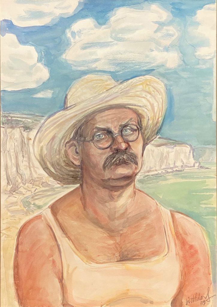 Selbstporträt des Friedrichshainer Künstler Jürgen Wittdorf, 1989 aus der Sammlung von Jan Linkersdorff