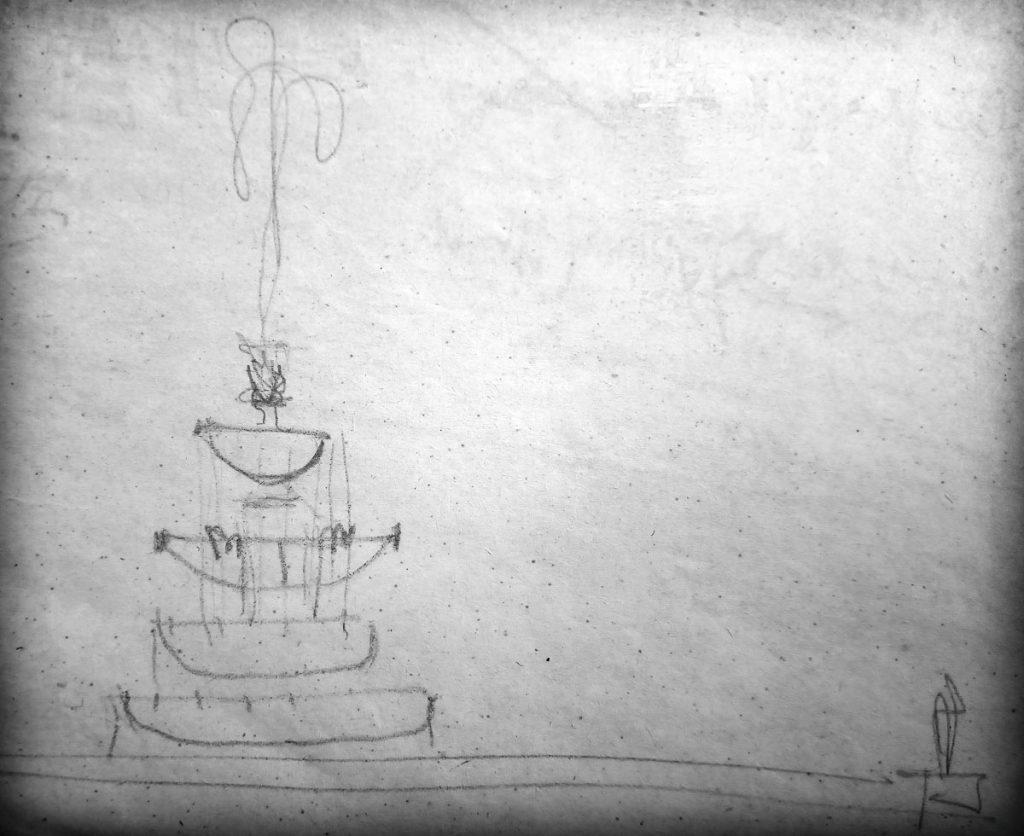 Skizze für den Schwebenden Ring von Walter Arnold| Quelle: Skizzenblatt auf Bauzeichnung
