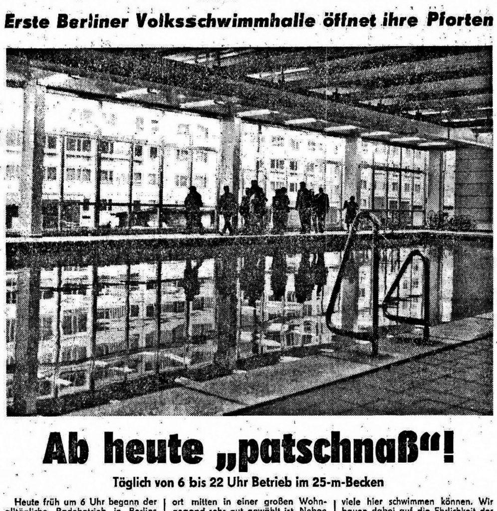 Volksschwimmhalle in der Weinstraße | Berliner Zeitung vom 10. Januar 1973.