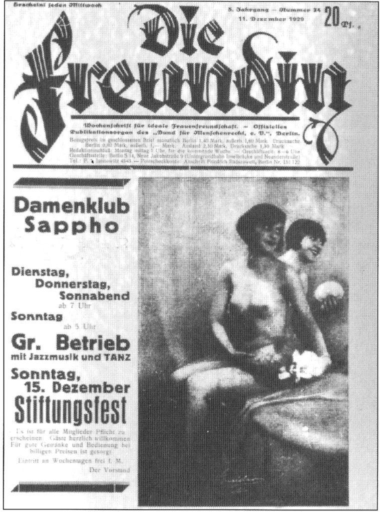 Die Freundin Damenclub Sappho | | Quelle: Titelblatt der Zeitschrift vom November 1929