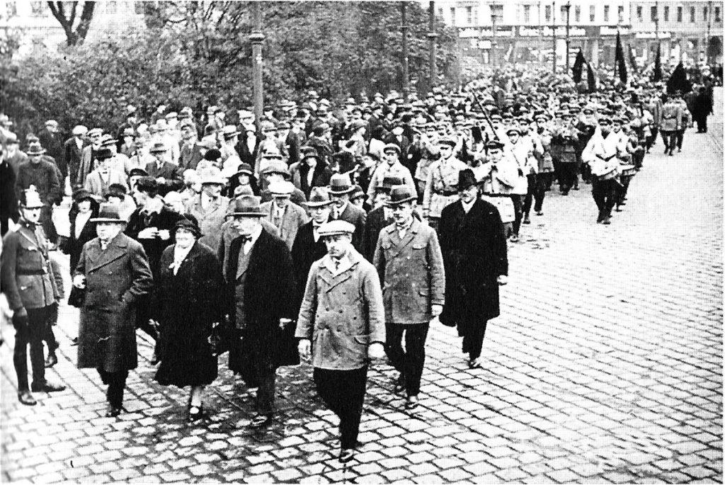 Demonstration des SPD Kreisverbandes Friedrichshain| Quelle: Postkarte