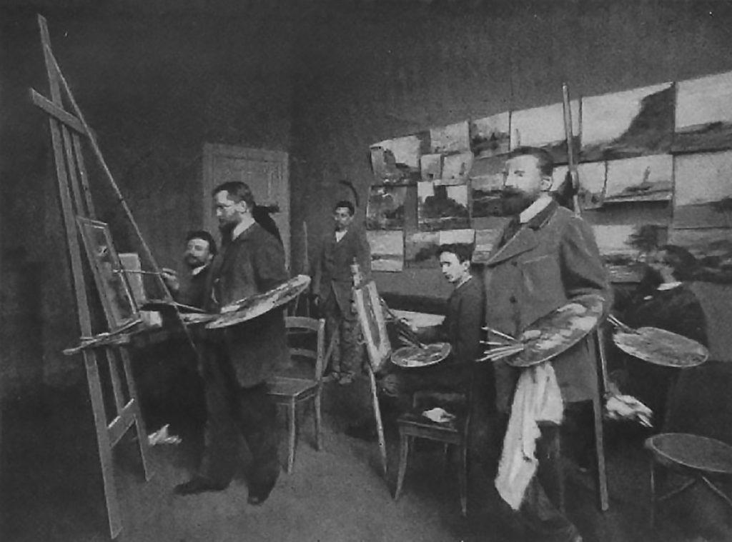 Im Atelier für Landschaftsmalerei von Hermann Eschke   Aus: Locis Corinth: Das Leben Walter Leistikows, Berlin 1910, S. 13