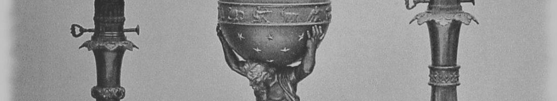 Historische Öllampen | Quelle: Katalogansicht zur Londoner Weltausstellung 1855