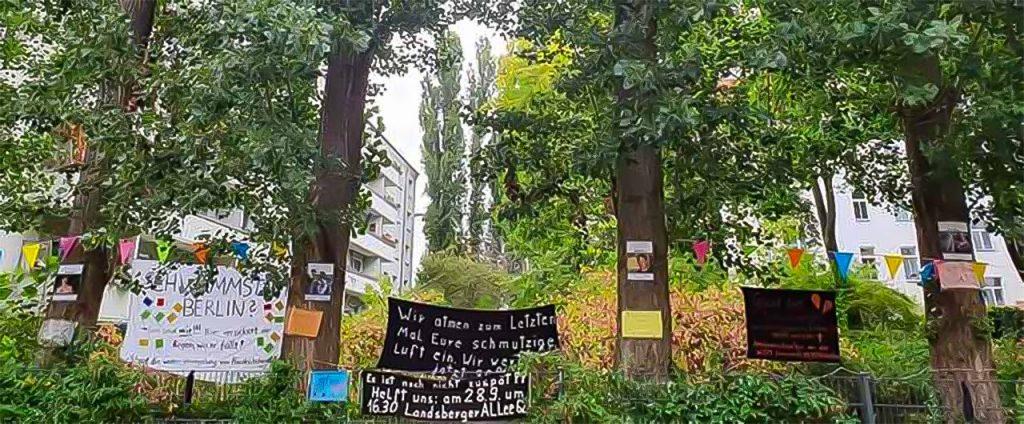 Es geht um den Erhalt von mehr als 30, teilweise 50 Jahre alten Bäumen, und eines grünen Biotops im dicht bebauten Berliner Kiez Friedrichshain.